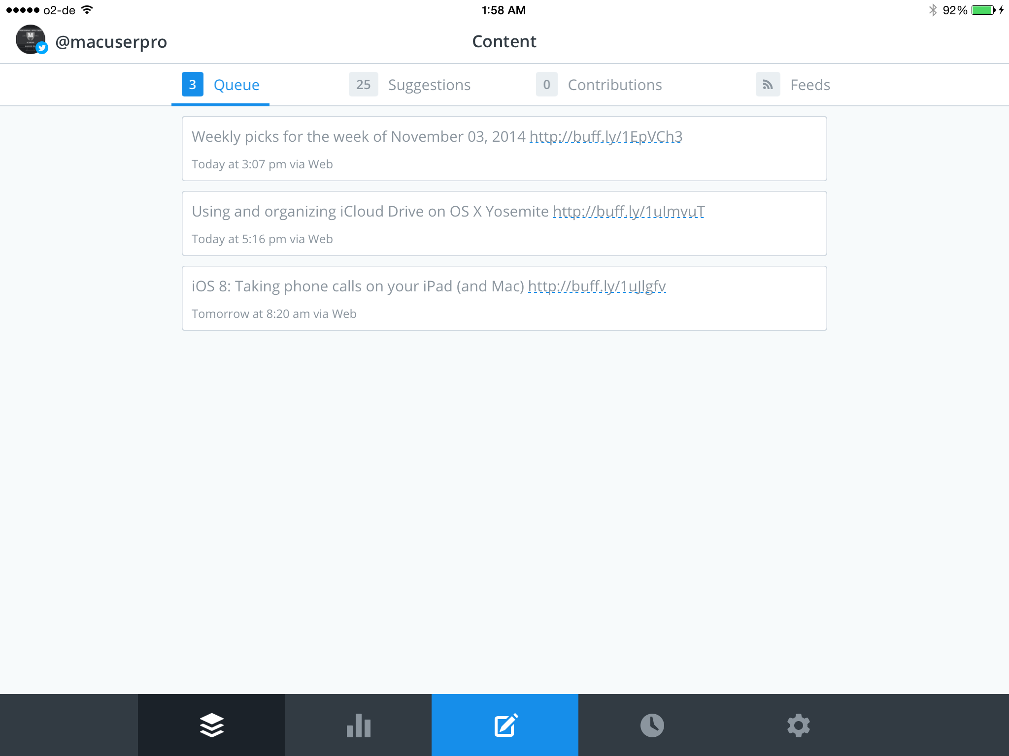 Buffer on my iPad