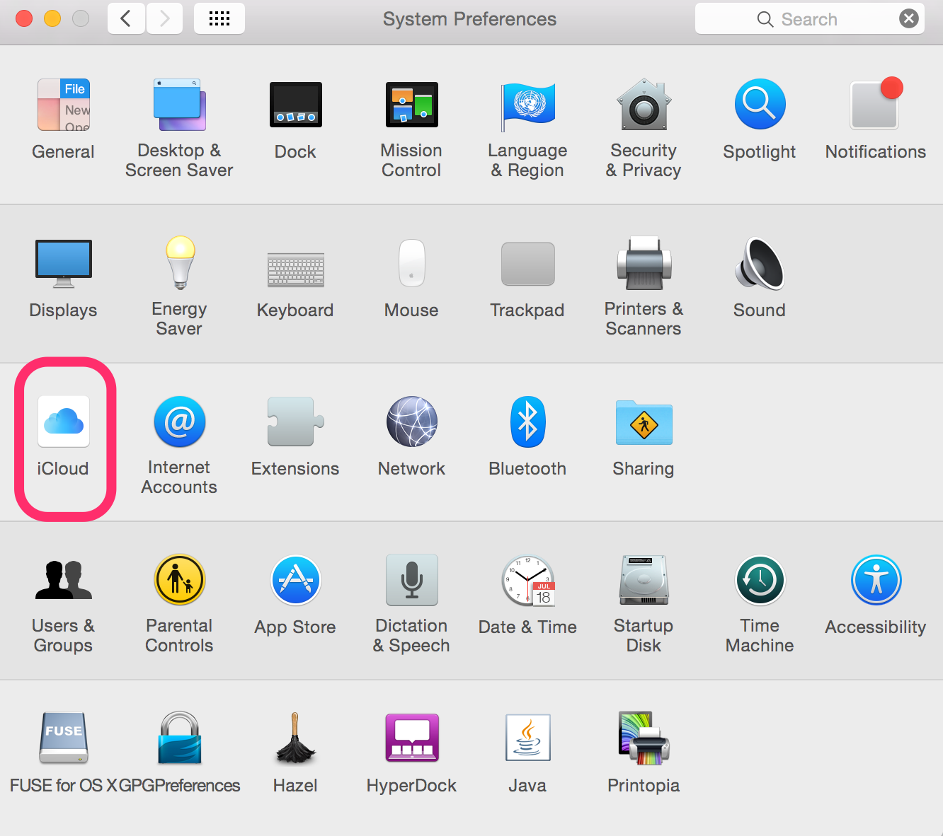 iCloud Settings in the System Preferences