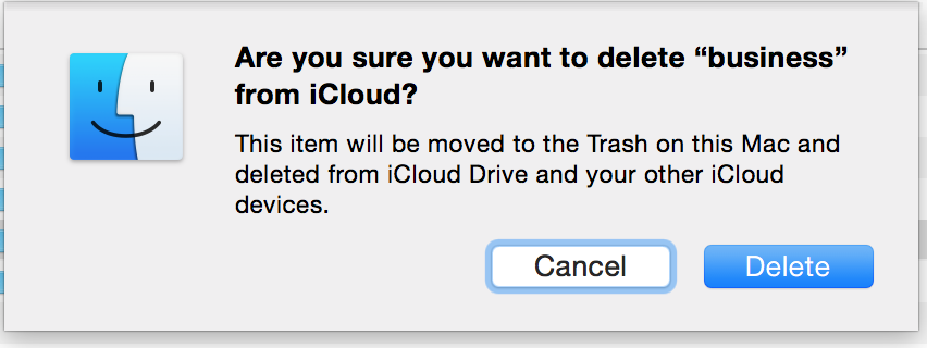 Finder warning you when you delete a file/folder from iCloud Drive