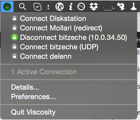 Viscosity in the menubar
